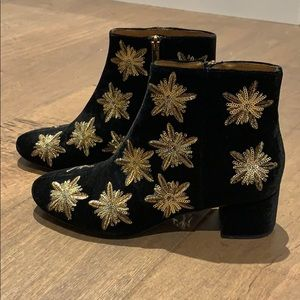 Black Velvet Star Booties